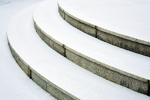 Stairs covered by Snow
