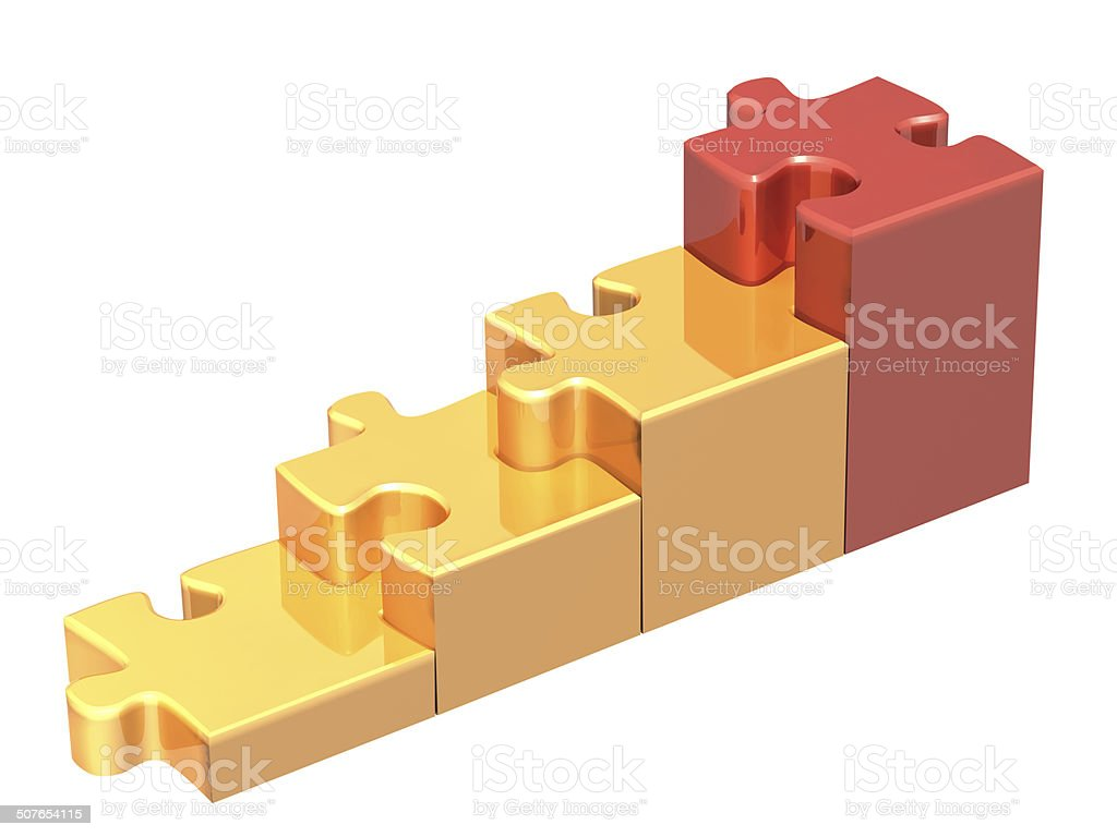 Stairs from four pieces of the puzzle stock photo