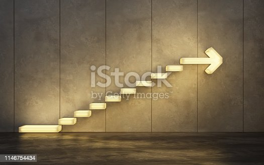 istock stairs going  upward, 3d rendering 1146754434