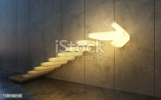 istock stairs going  upward, 3d rendering 1155163143