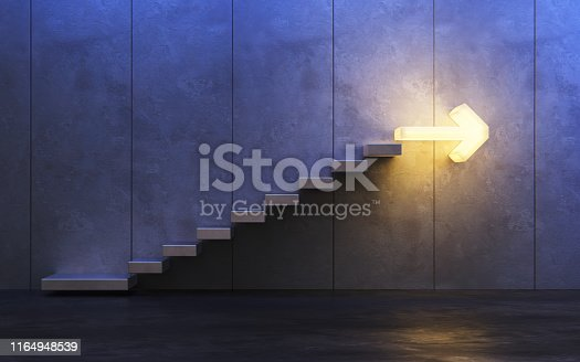 istock stairs going  upward, 3d rendering 1164948539