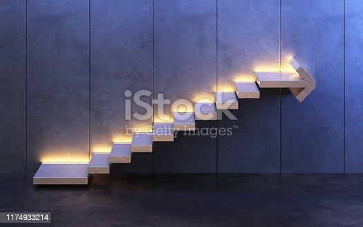 182237699 istock photo stairs going  upward, 3d rendering 1174933214