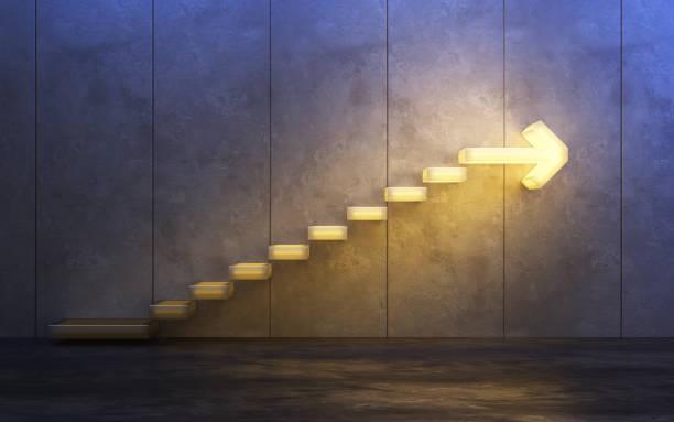 treppe nach oben, 3d rendering - treppe stock-fotos und bilder