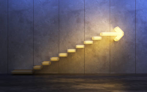 stairs going  upward, 3d rendering stock photo