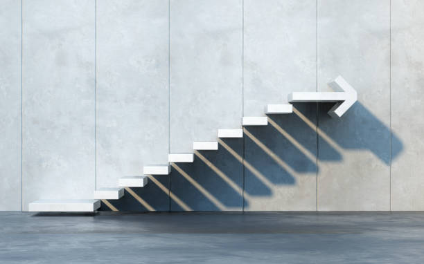 stairs going  upward stock photo