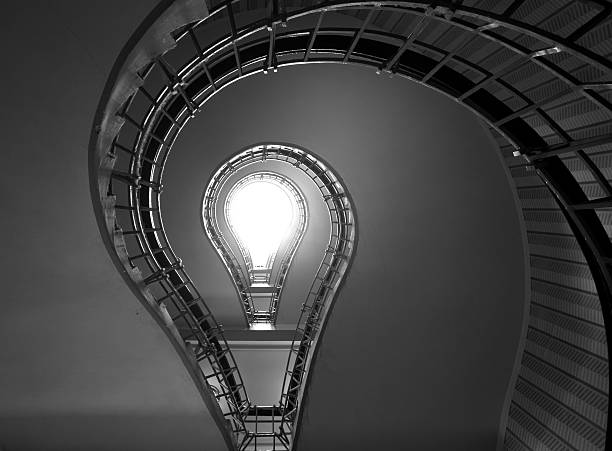 Stairs in a complex light-bulb pattern stock photo