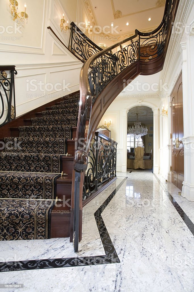 Stairs in a villa stock photo