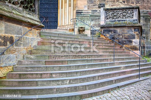 granite stairs and entrance in gothic style