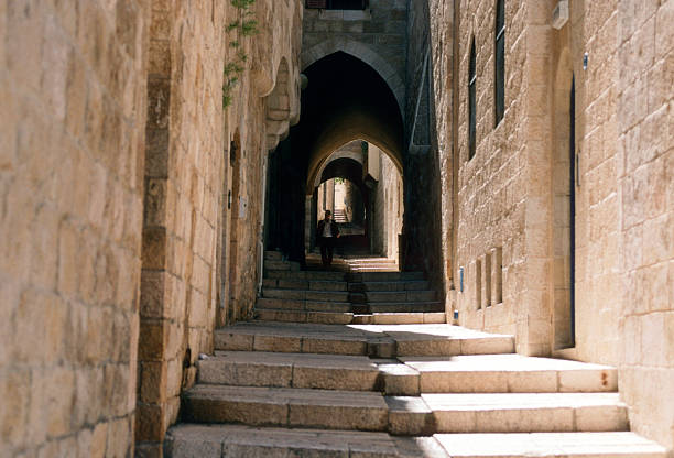 Stairs in Jerusalem's Old City stock photo