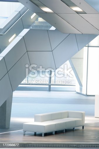 istock Stairs in Modern Interior, Illuminated Staircase and Sofa 172366677