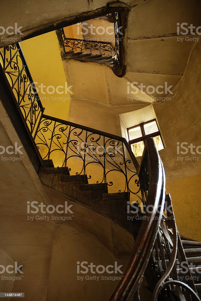 Stairs in old polish house royalty-free stock photo