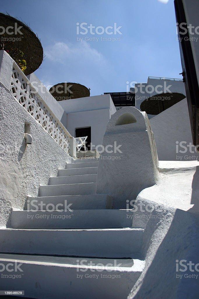stairs in santorini island royalty-free stock photo
