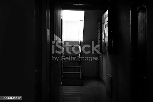 istock Stairs in the building. background black. 1000905542