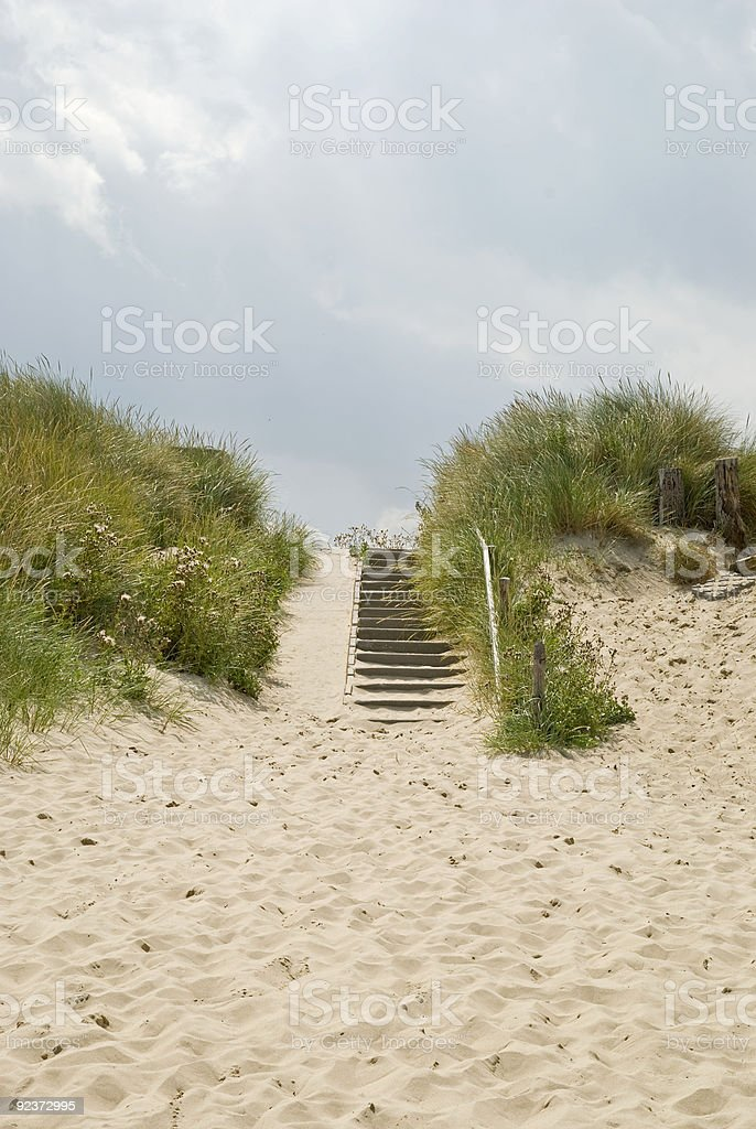 Stairs in the dunes royalty-free stock photo