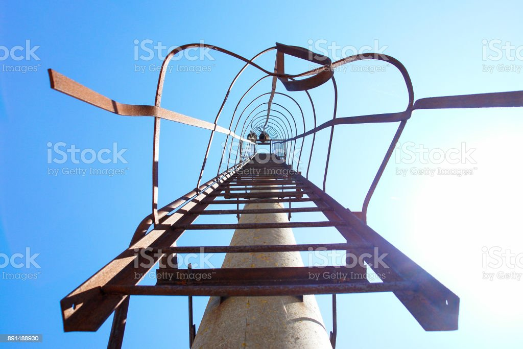Stairs ladder to the heaven blue skies stock photo