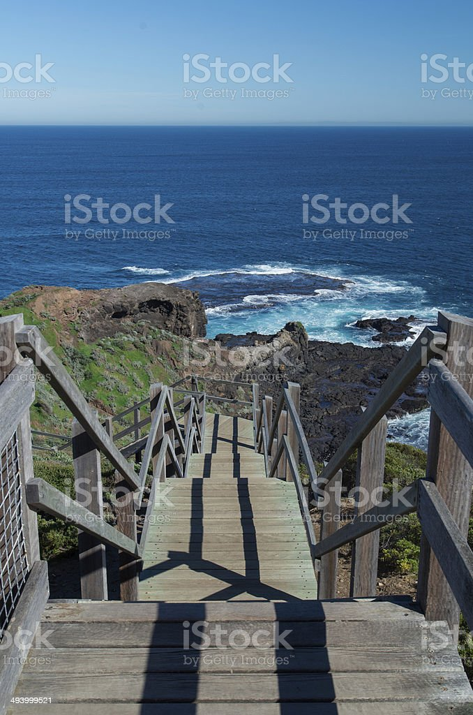 Stairs leading downwards stock photo