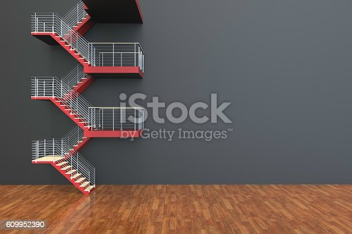 istock Stairs leading Red and Empty room Concept 609952390