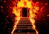Stairs leading to an abstract door wrapped in flames