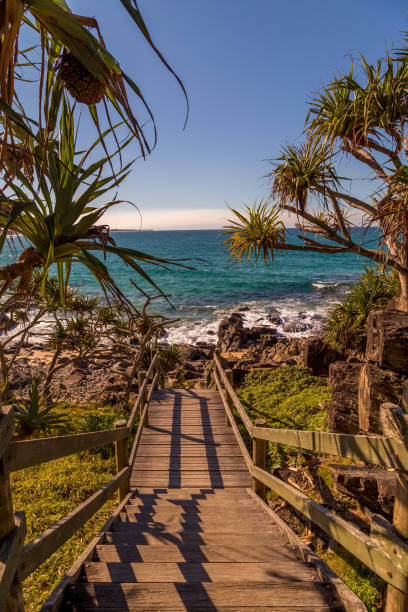 Stairs leading to beach at sunset in Queensland stock photo