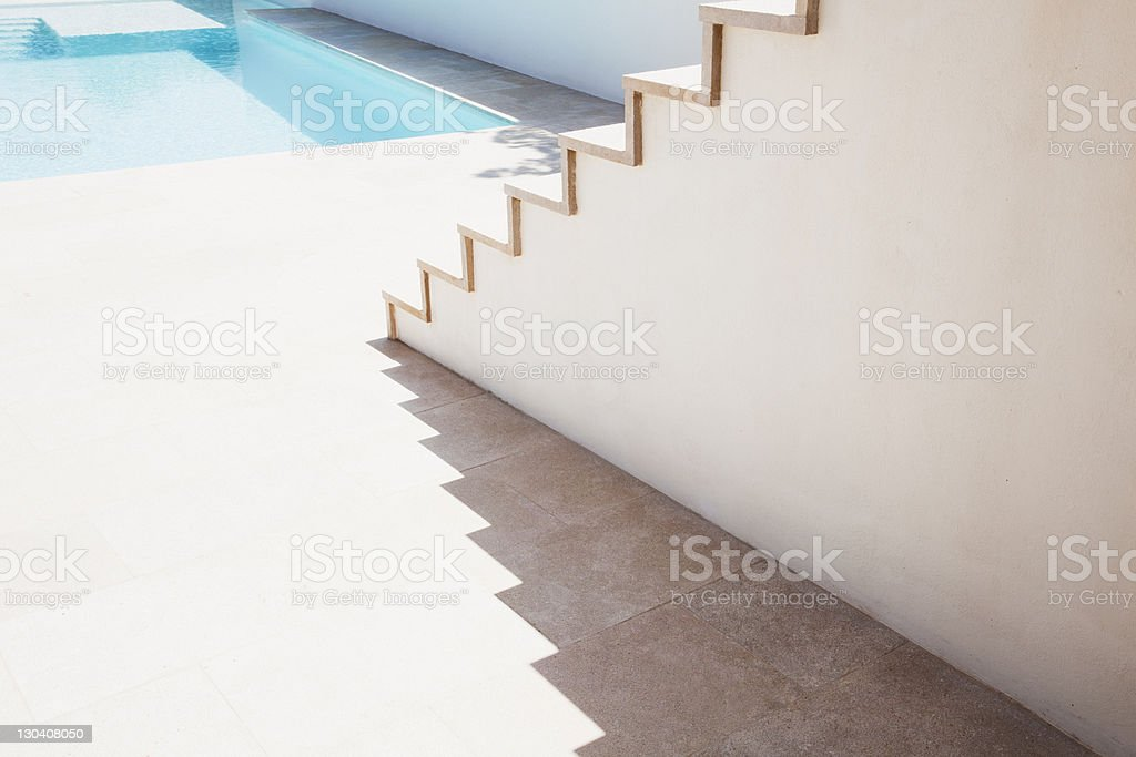 Stairs leading to pool stock photo