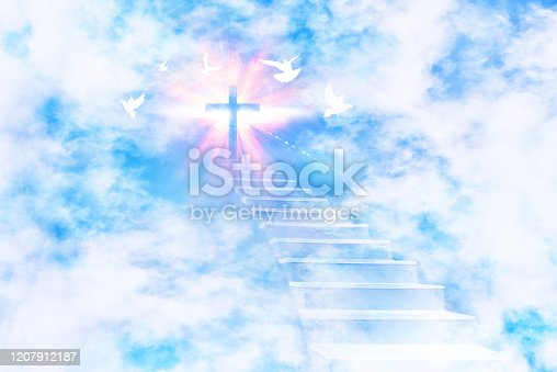 istock Stairs leading to the sky with cross and flying doves 1207912187