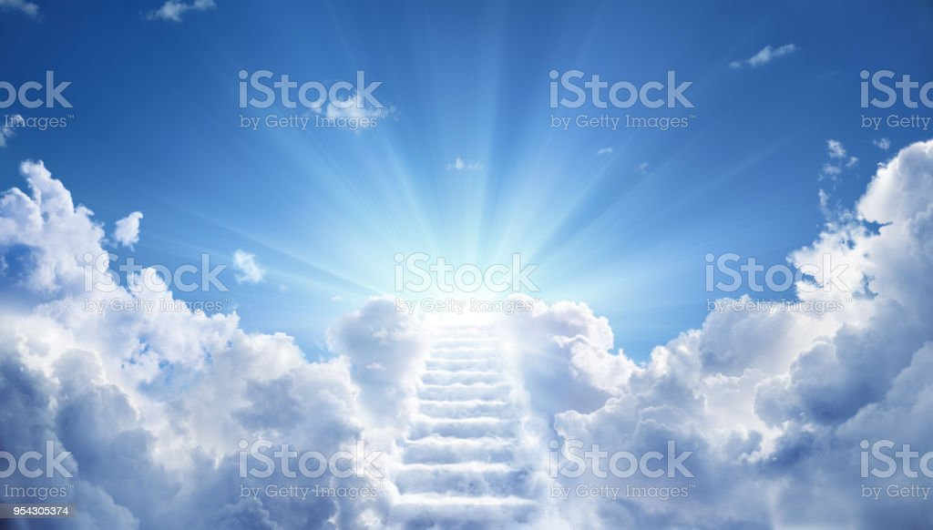 Stairs Leading Up To Heavenly Sky Toward The Light royalty-free stock photo