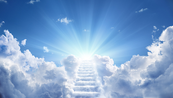 Stairs in sky With Light