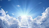 Stairs Leading Up To Heavenly Sky Toward The Light