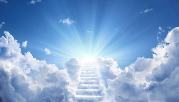 Stairs Leading Up To Heavenly Sky Toward The Light stock photo