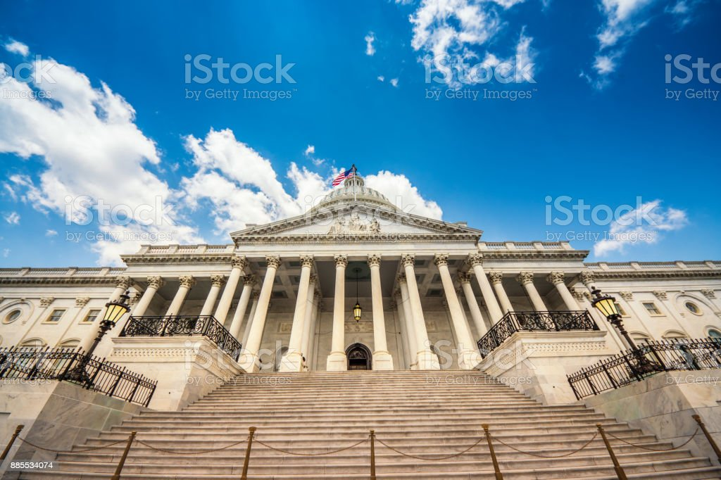 Stairs leading up to the United States Capitol Building in Washington DC - East Facade of the famous US landmark. stock photo