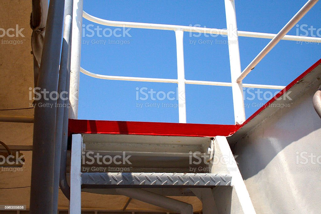 Stairs made of metal on the ship. royalty-free stock photo