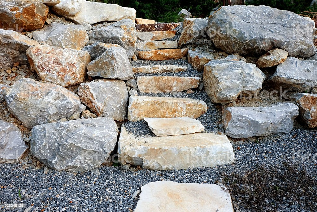 Stairs made of natural stone. Textured abstract background stock photo