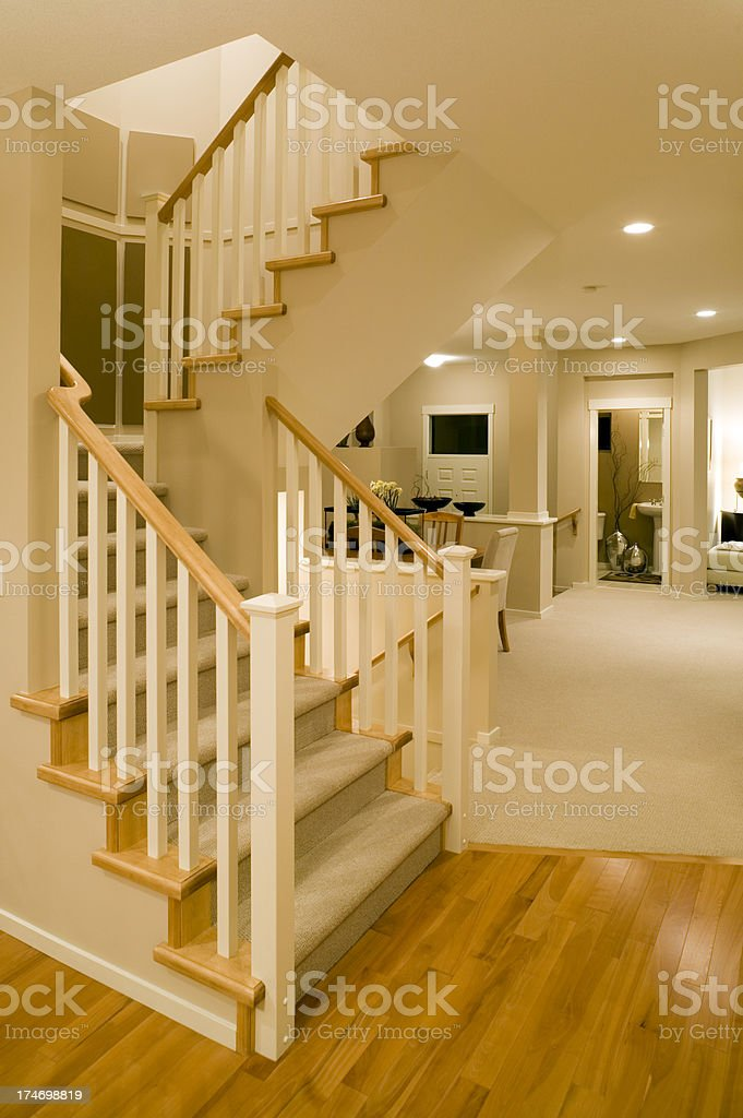 stairs modern new home hardwood floor entry basement renovate stock photo