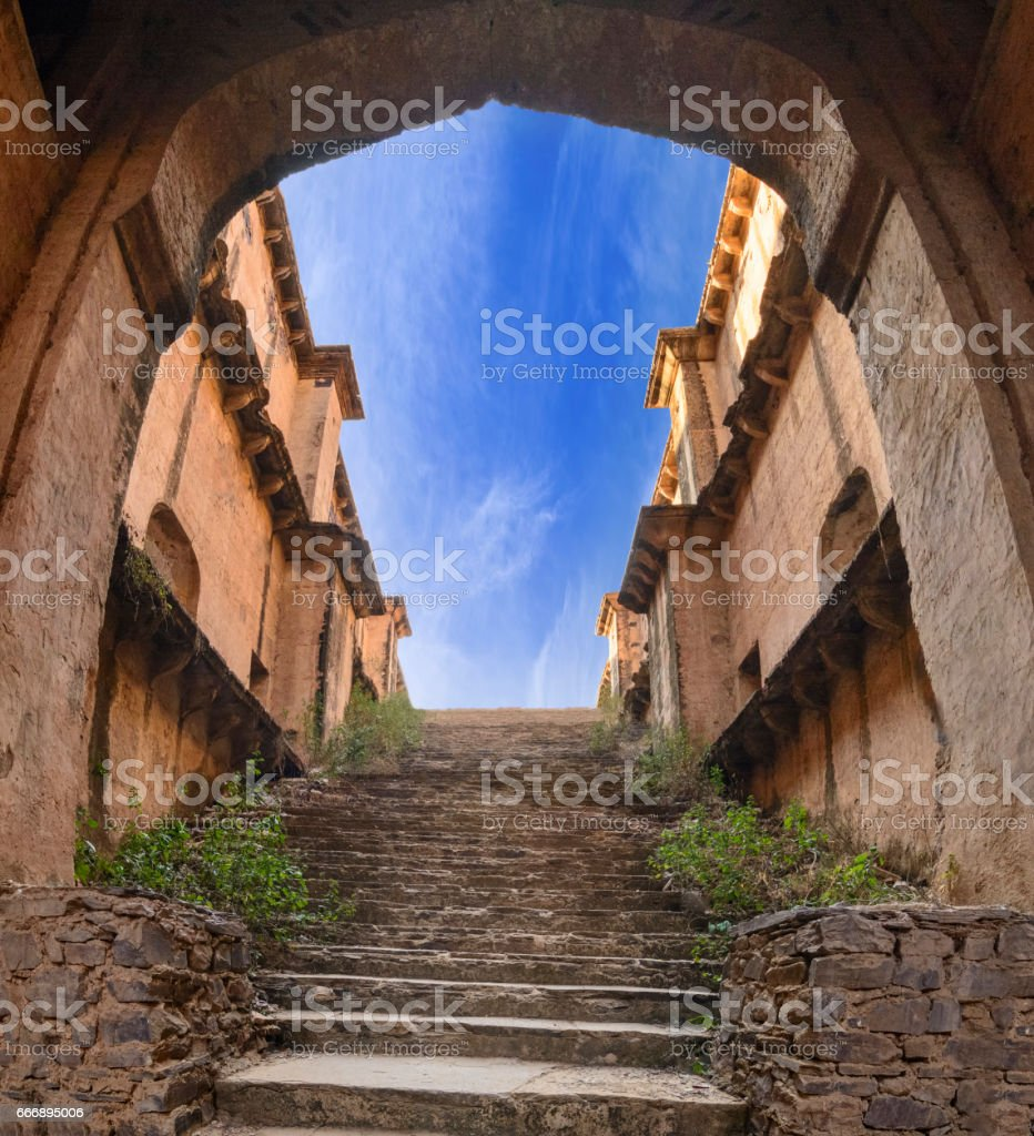 Stairs of a stepwell / baori, situated in a village of Rajasthan stock photo