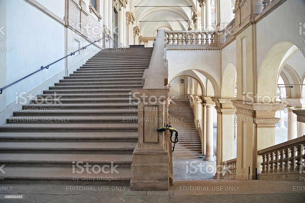 Stairs of Pinacoteca di Brera, Milan, horizontal stock photo