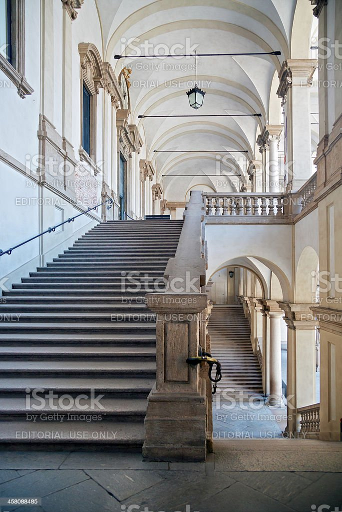 Stairs of Pinacoteca di Brera, Milan stock photo