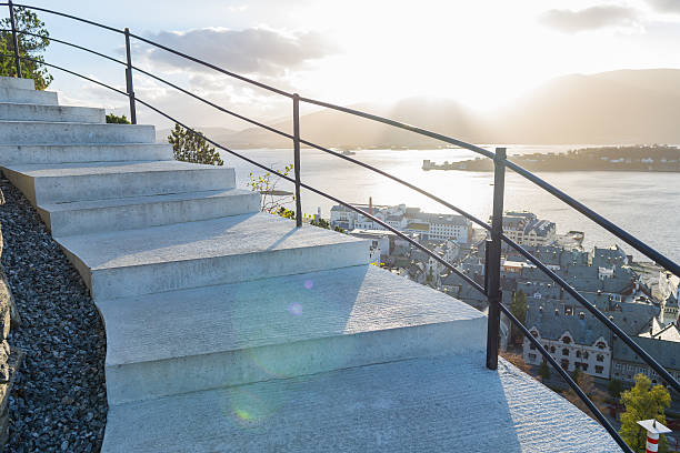 Stairs of the viewpoint, Alesund stock photo