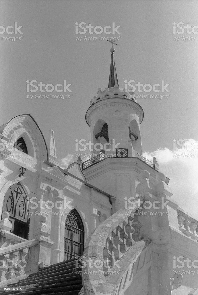 Stairs of the Vladimir Church in Bykovo. stock photo