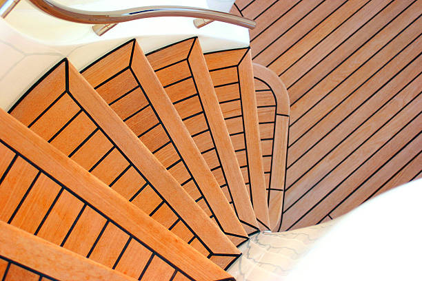 Stairs of yacht stock photo