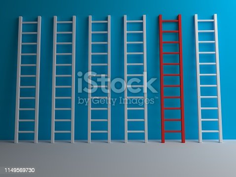 938669816 istock photo Stairs on blue background 1149569730