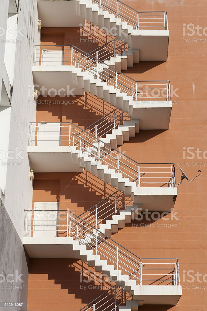 Beautiful Stairs Outside High Rise Building, Fire Exit, Escape, Emergency Door  Royalty