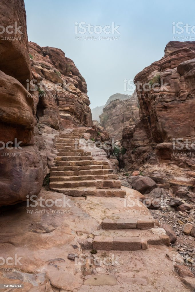 Stairs path to Monastery site stock photo