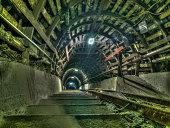 Ruda Slaska, Poland - November 05, 2015:  Coal mine. Stairs in a  mine tunnel