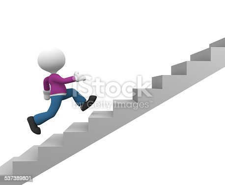 3d people - man, person running on stairs. To success
