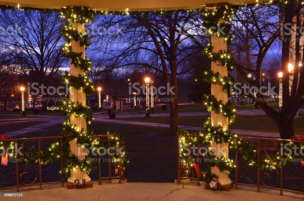 Christmas Lighted Garlands.Stairs Pillars Wrapped Garlands Christmas Lights Night Stock Photo Download Image Now