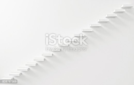 istock Stairs Rendered on the White Wall 528767305