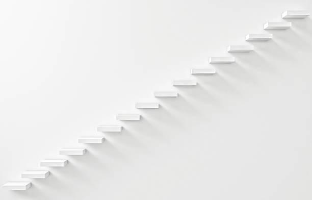 Escalier orné sur le mur blanc - Photo