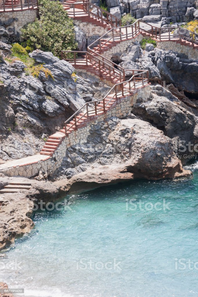 Stairs to beach stock photo
