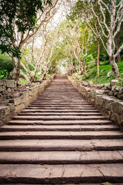 Stairs to buddha statue in Mihintale stock photo