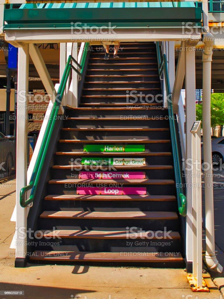 Treppe zum Bahnsteig el auf Clinton Street in Chicago - Lizenzfrei Abschied Stock-Foto